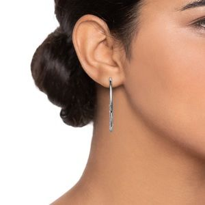Nine West Silver Pave C-Hoop Earrings NWT